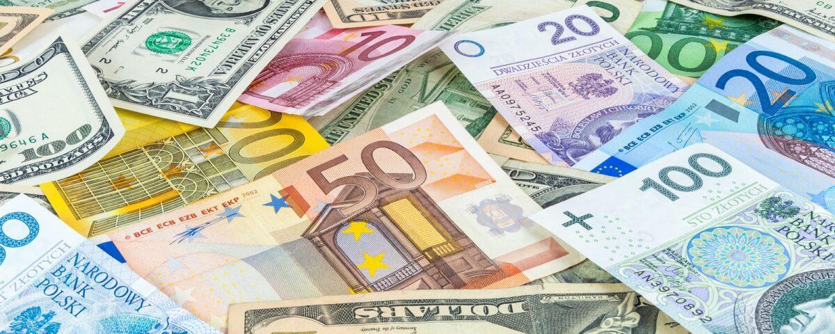 Dollar, euro and polish zloty money background
